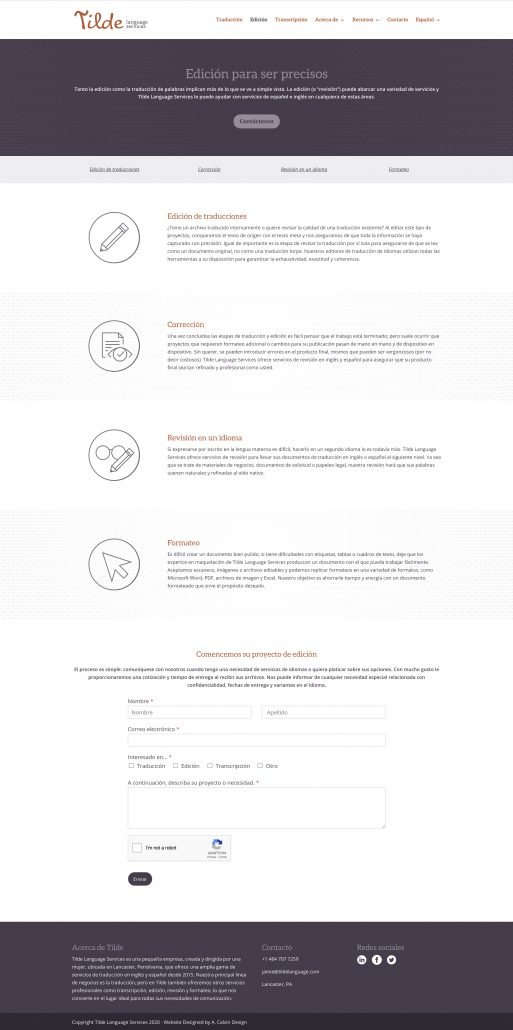 Tilde Language Services Editing Page Design