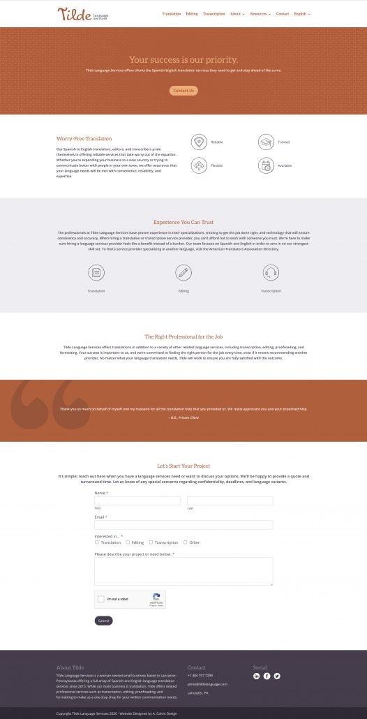 Tilde Language Services Homepage Design