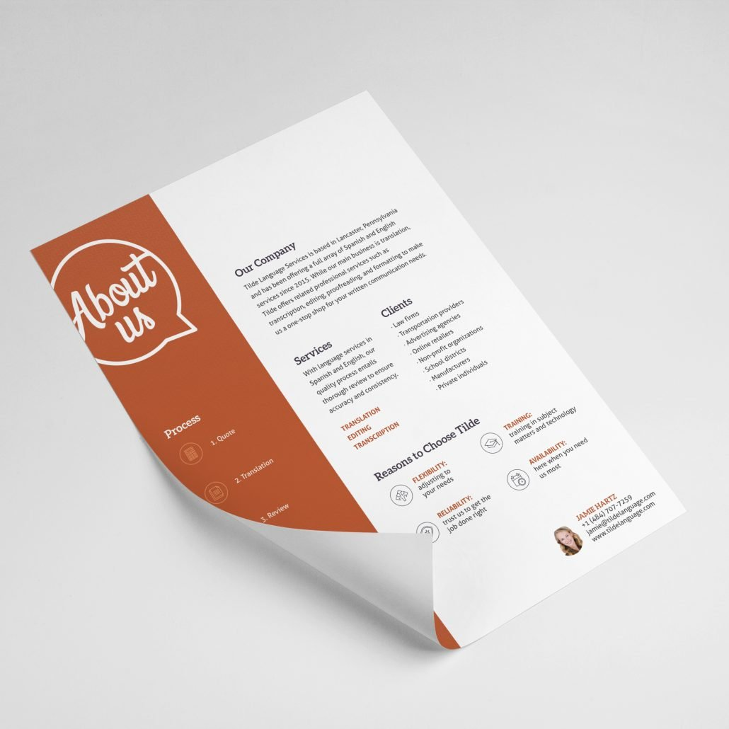 Tilde Language Service Capabilities Sheet Design